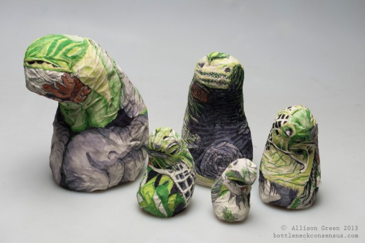 """The Procession"" Nesting dolls. Plastic forms with muslin skin. Painted with gouache and textile medium. 2013."