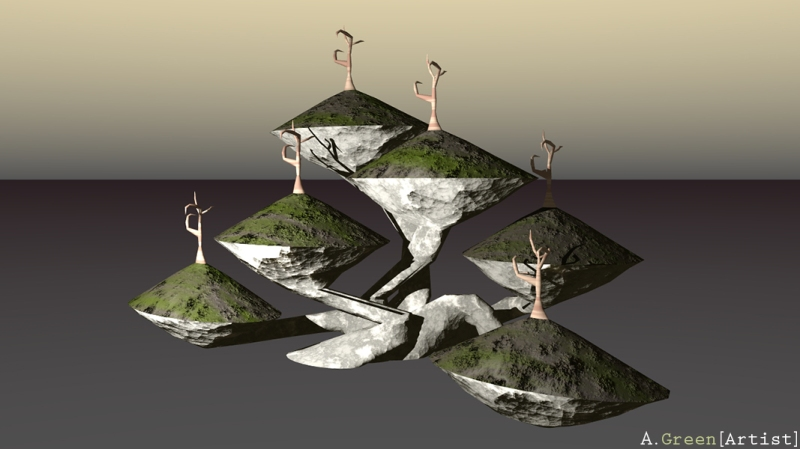 Fungal Islands 3D Model Bright - A Green Artist